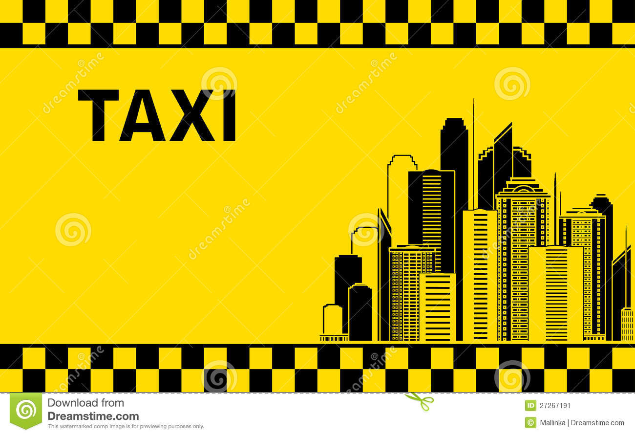 Taxi Background With City Landscape Stock Image Image