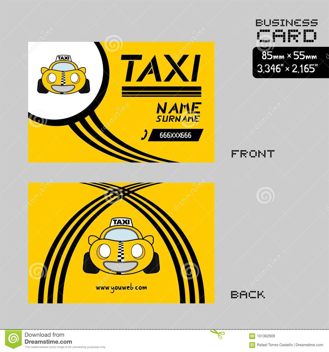 Taxi business card stock vector  Illustration of driver