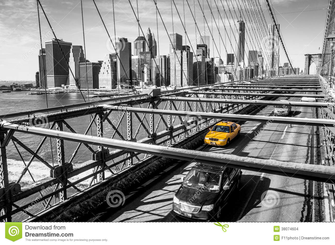 taxi cab crossing the brooklyn bridge in new york stock new york city vector images new york city victory parade of 1946