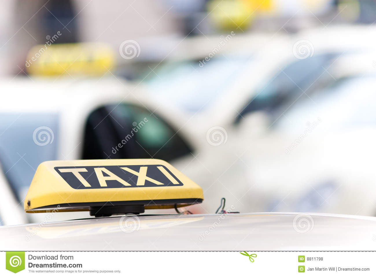 Taxi cab signs on vehicles stock photo  Image of yellow