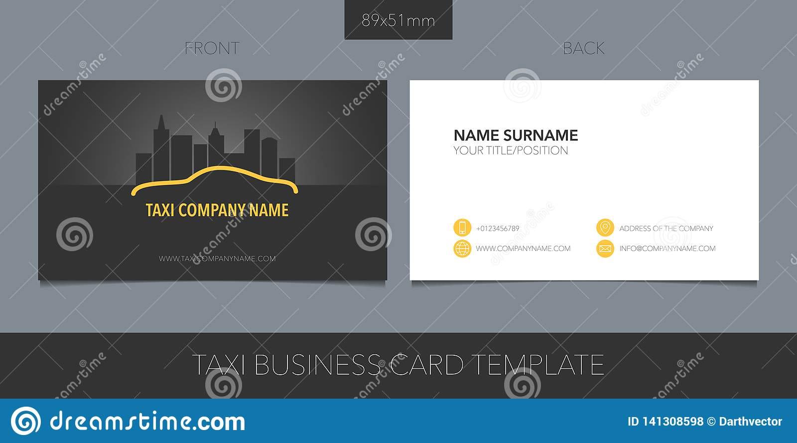 PrintTaxi, cab vector business card layout. Template contact information and logo