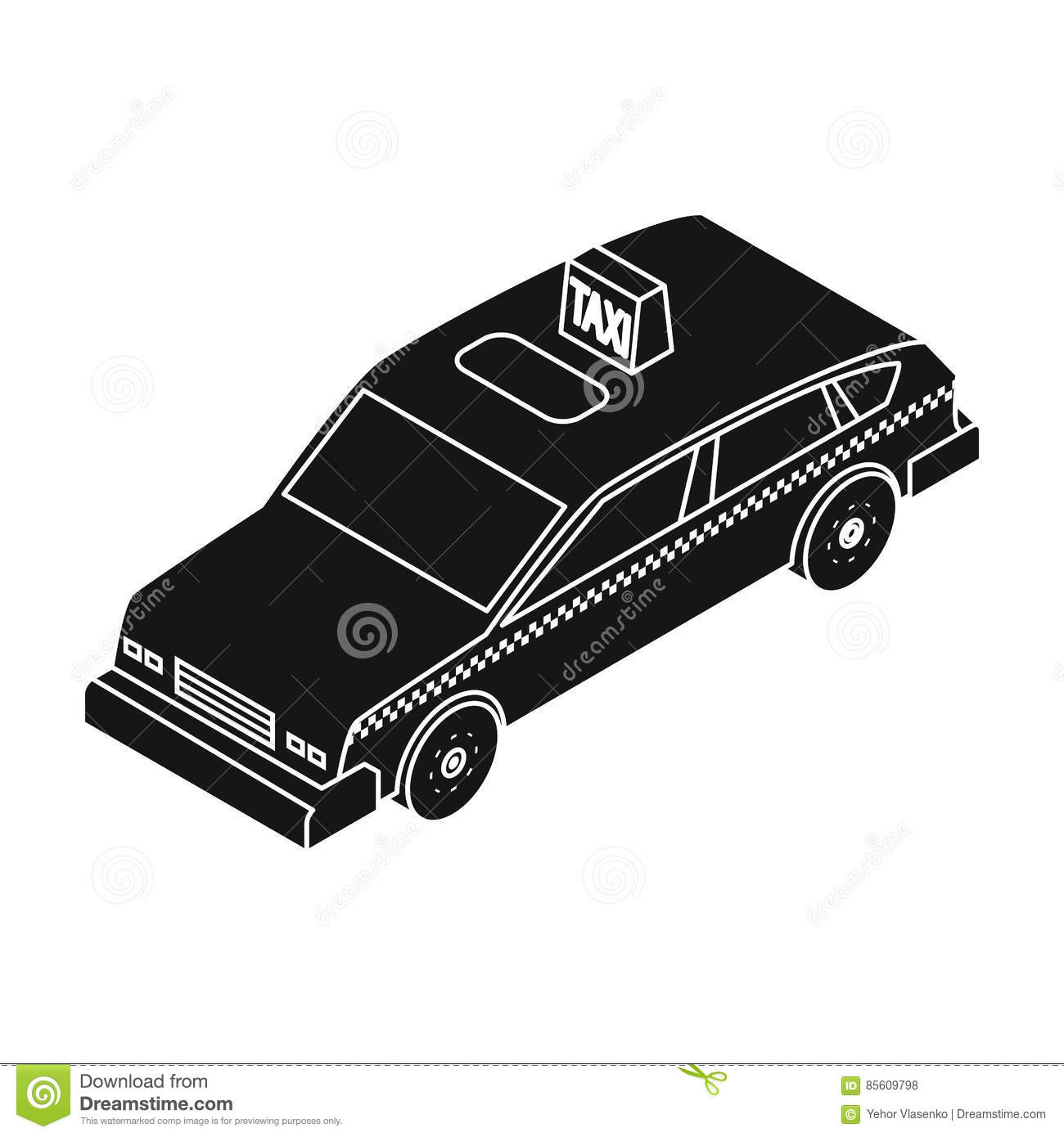 Taxi Symbol, New Background Cartoon Vector