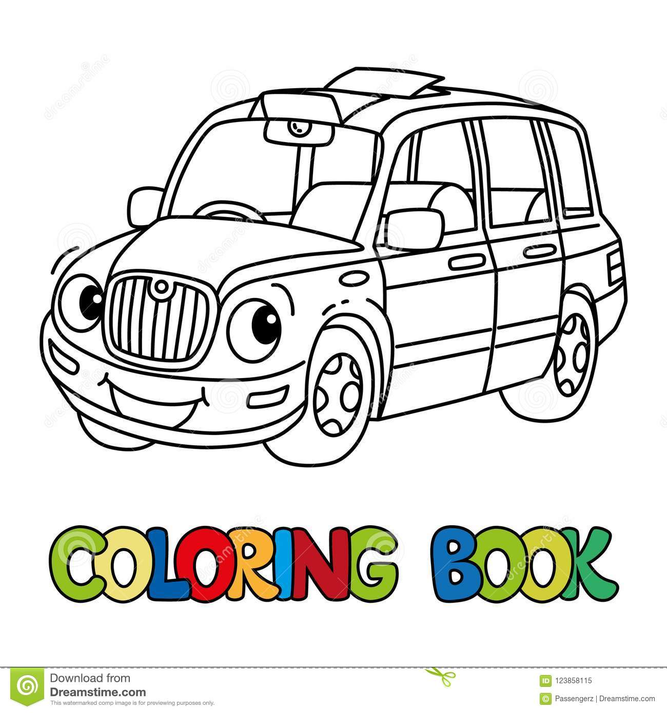 Funny Small Taxi Car Or London Cab. Coloring Book Stock Vector ...