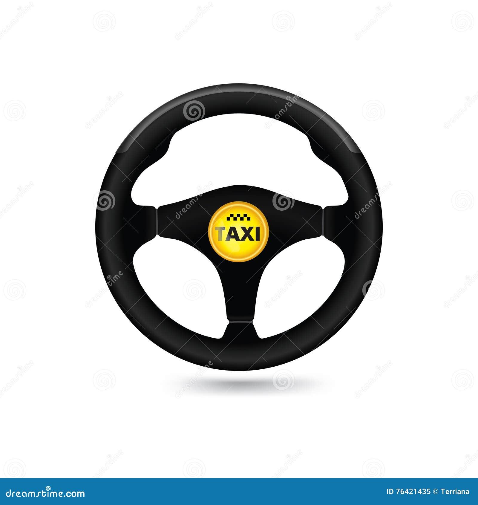 Taxi car sign. Car steering wheel icon. Vector