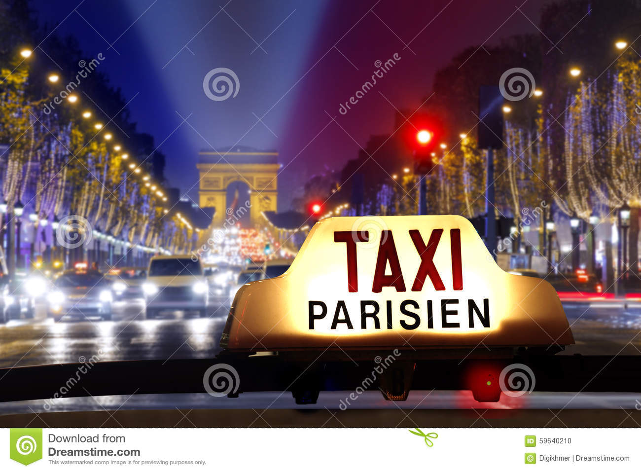 taxi at the champs elysees stock photo image 59640210. Black Bedroom Furniture Sets. Home Design Ideas