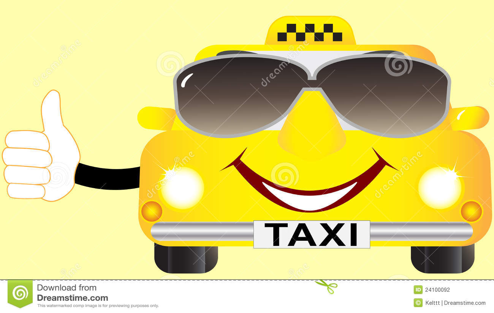 Taxi De Dessin Anime Dans Des Lunettes De Soleil Illustration De