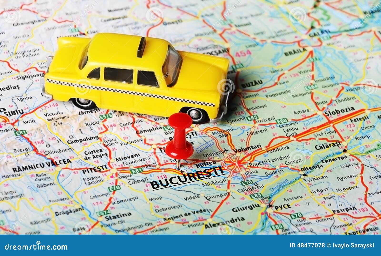 Taxi del mapa de Bucuresti, Rumania