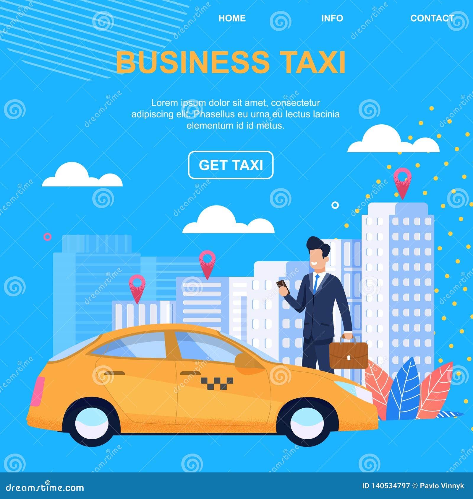 Taxi del negocio Consiga el taxi Acercamiento individual