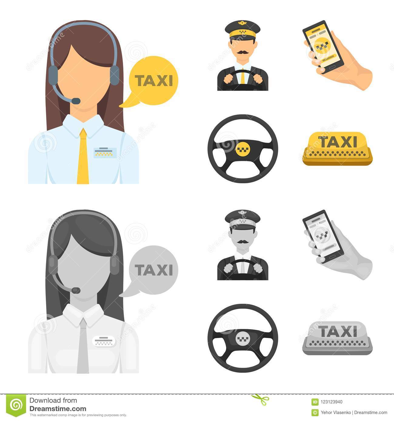 A Taxi Driver With A Microphone, A Taxi Driver At The Wheel, A Cell