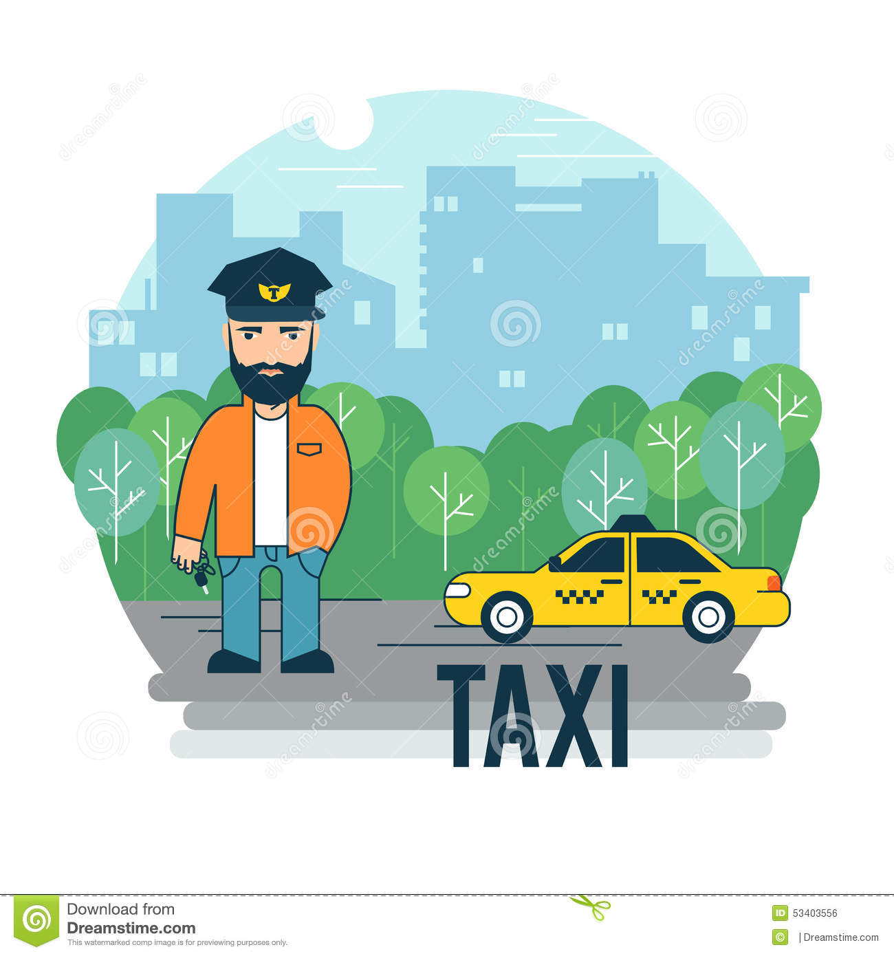 the taxi driver stock vector image 53403556. Black Bedroom Furniture Sets. Home Design Ideas