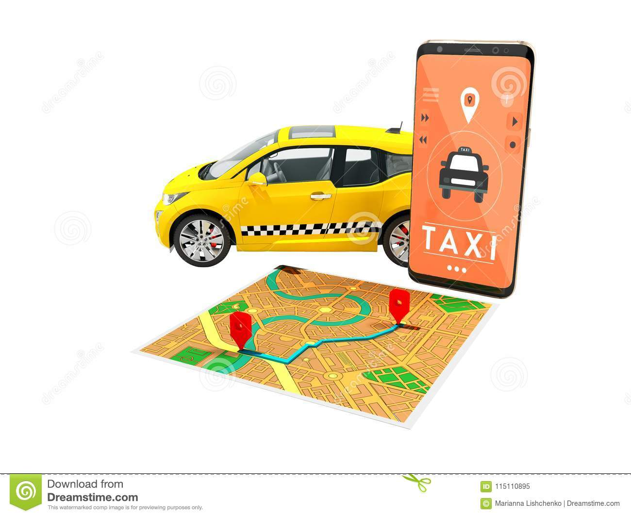 Taxi Electric Yellow With A Call On The Smartphone With A Map Route on