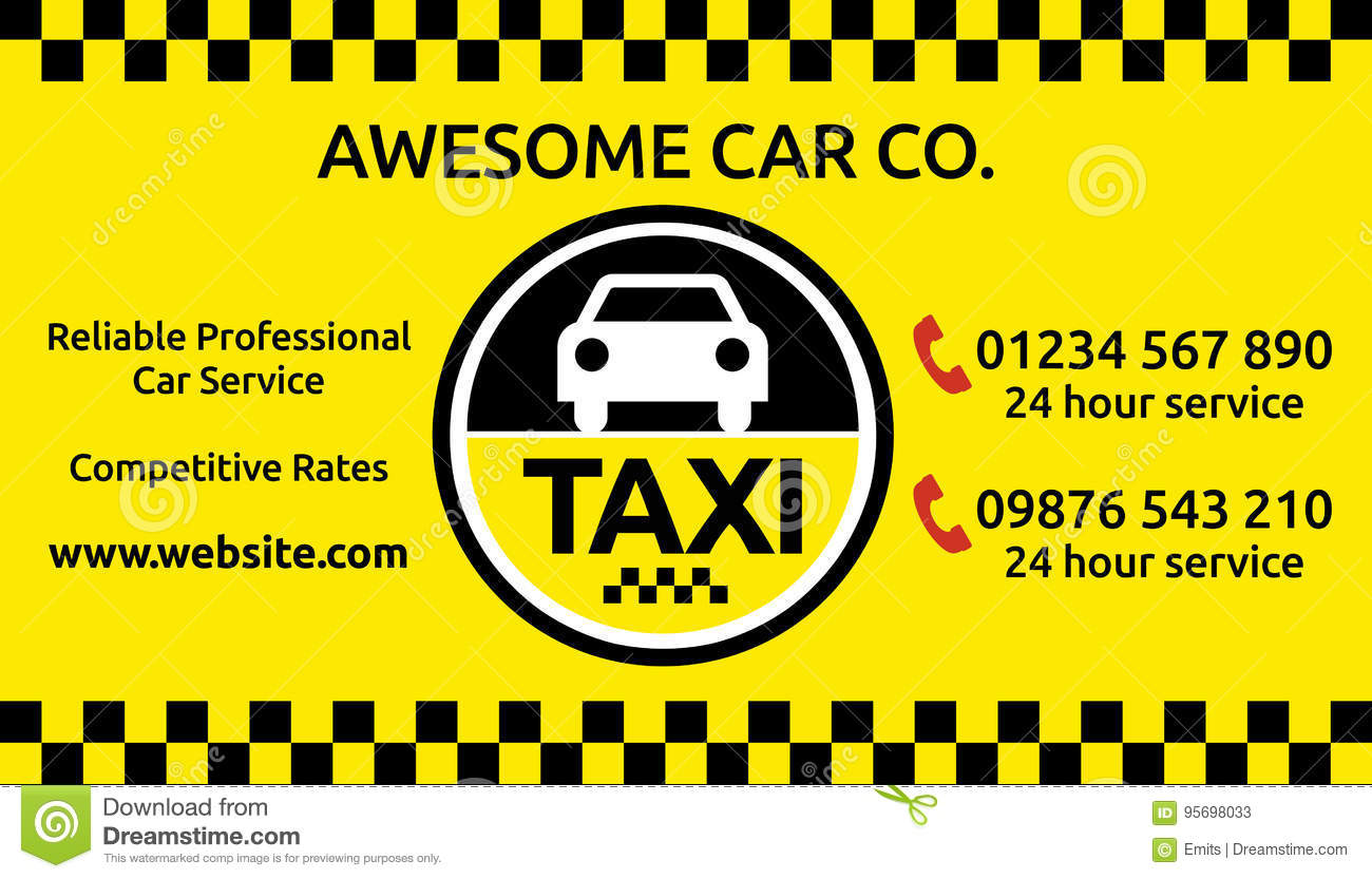 Taxi And Mini Cab Business Card Design Stock Image - Image of ...