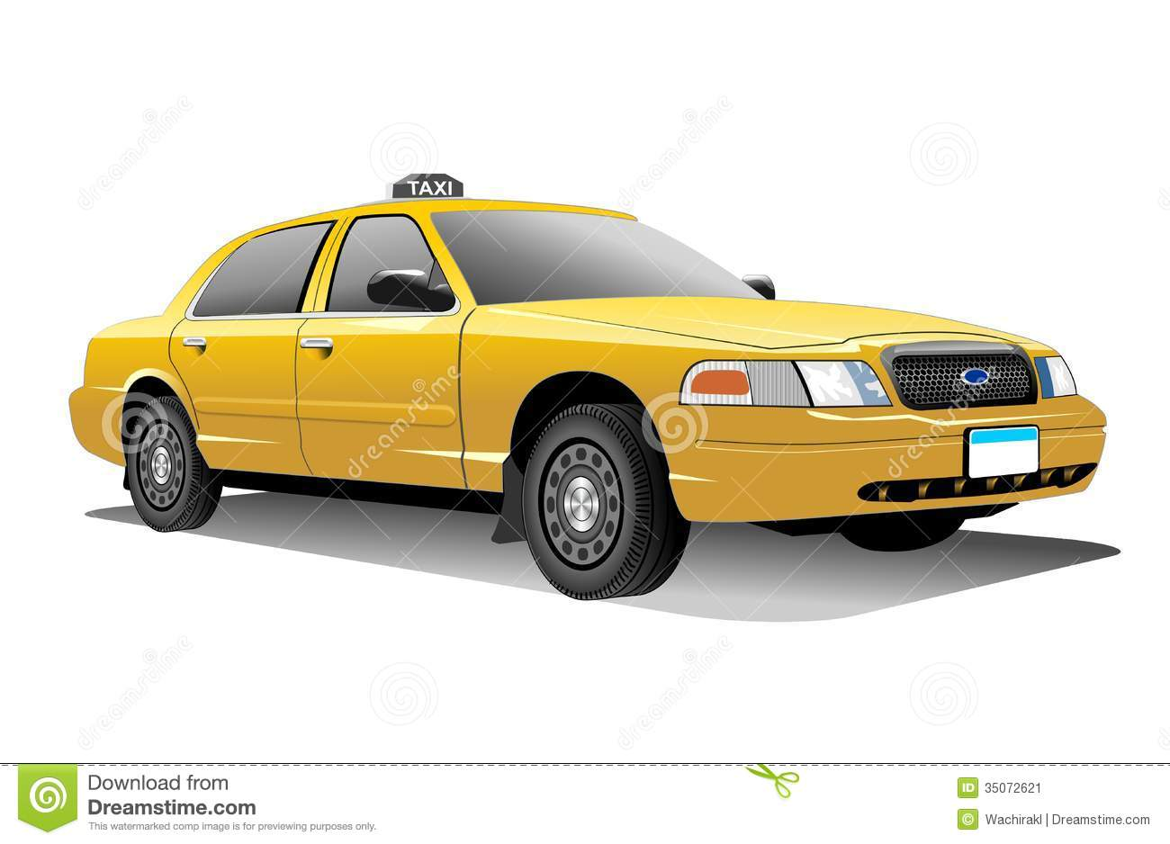 New York yellow Taxi vactor and with transparency background (png) .