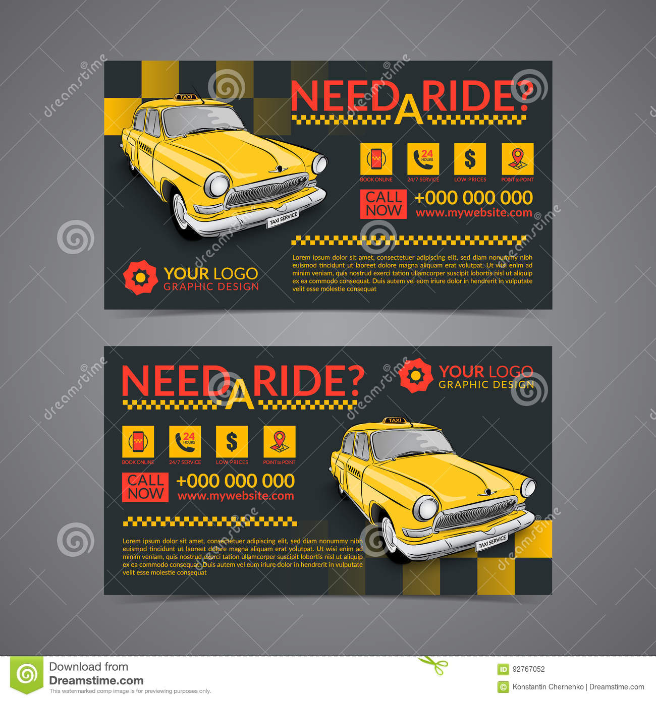 Taxi pickup service business card layout template. Create your own business cards.