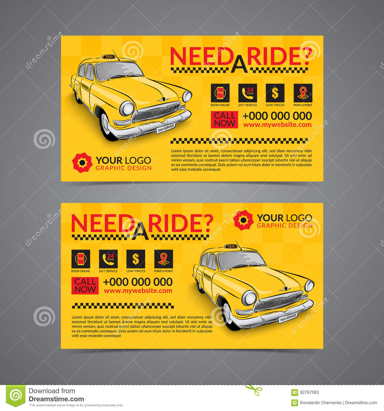 Taxi Pickup Service Business Card Layout Template. Stock Vector ...