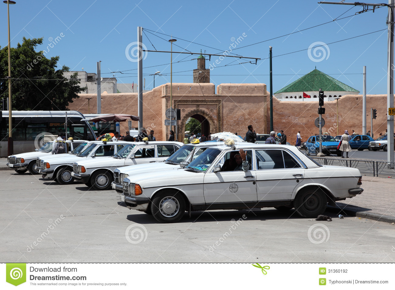 Taxi rank in rabat morocco editorial photography image for Mercedes benz cars com