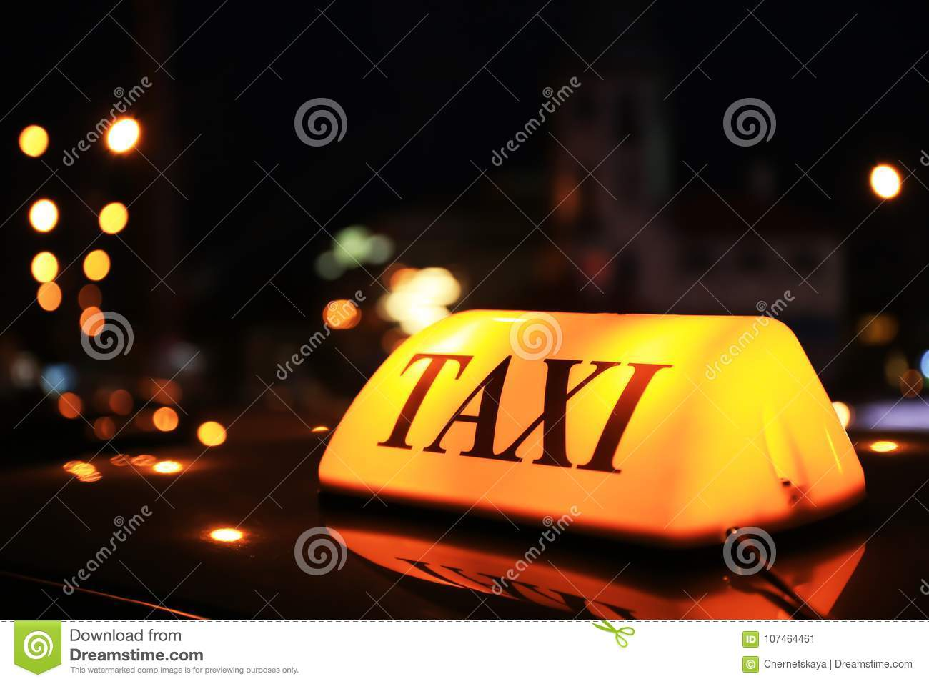 Taxi roof top light at night