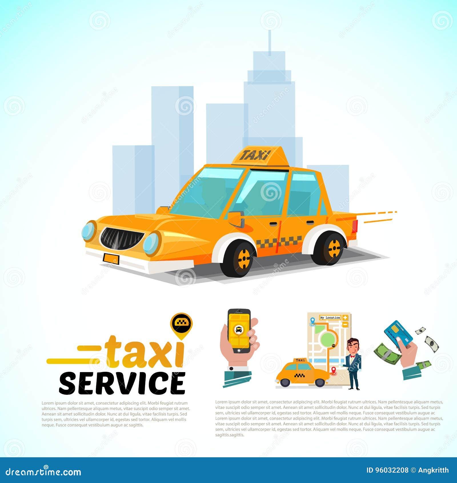 Taxi samochód w mieście jawny taxi usługowego zastosowania pojęcie