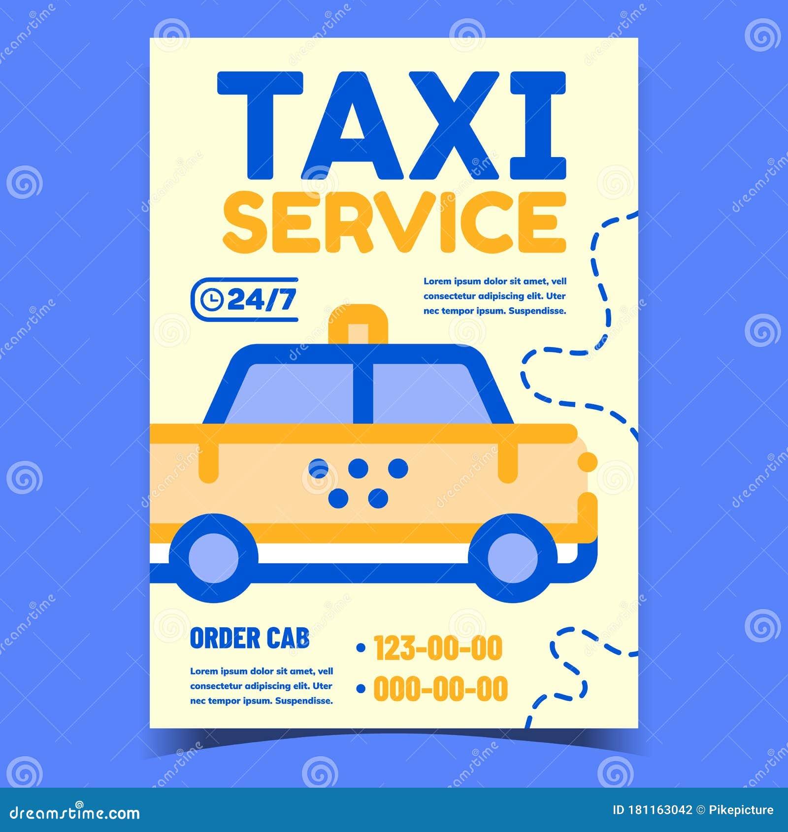Taxi Service Creative Advertising Poster Vector Stock ...