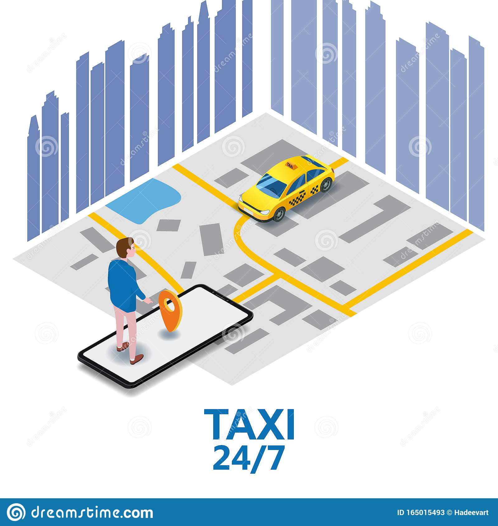 Taxi Service Isometric. Man Near Smartphone Screen With ...
