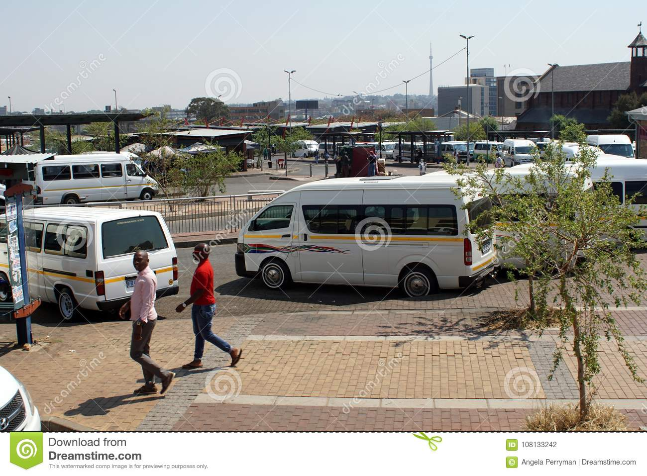 Taxi rank for shared vans in Johannesburg