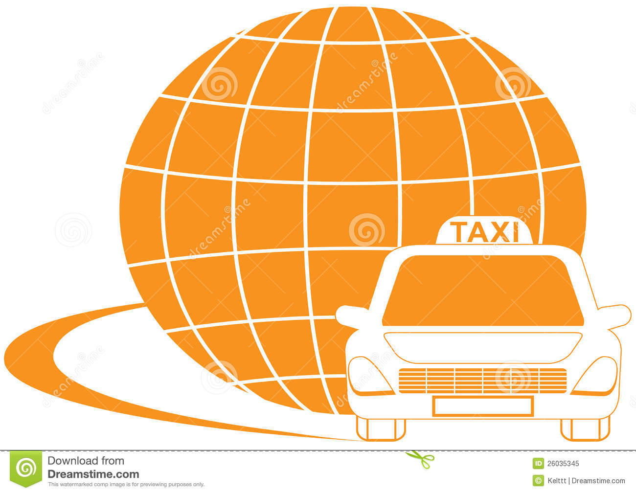 Taxi symbol with road, cab and planet silhouette