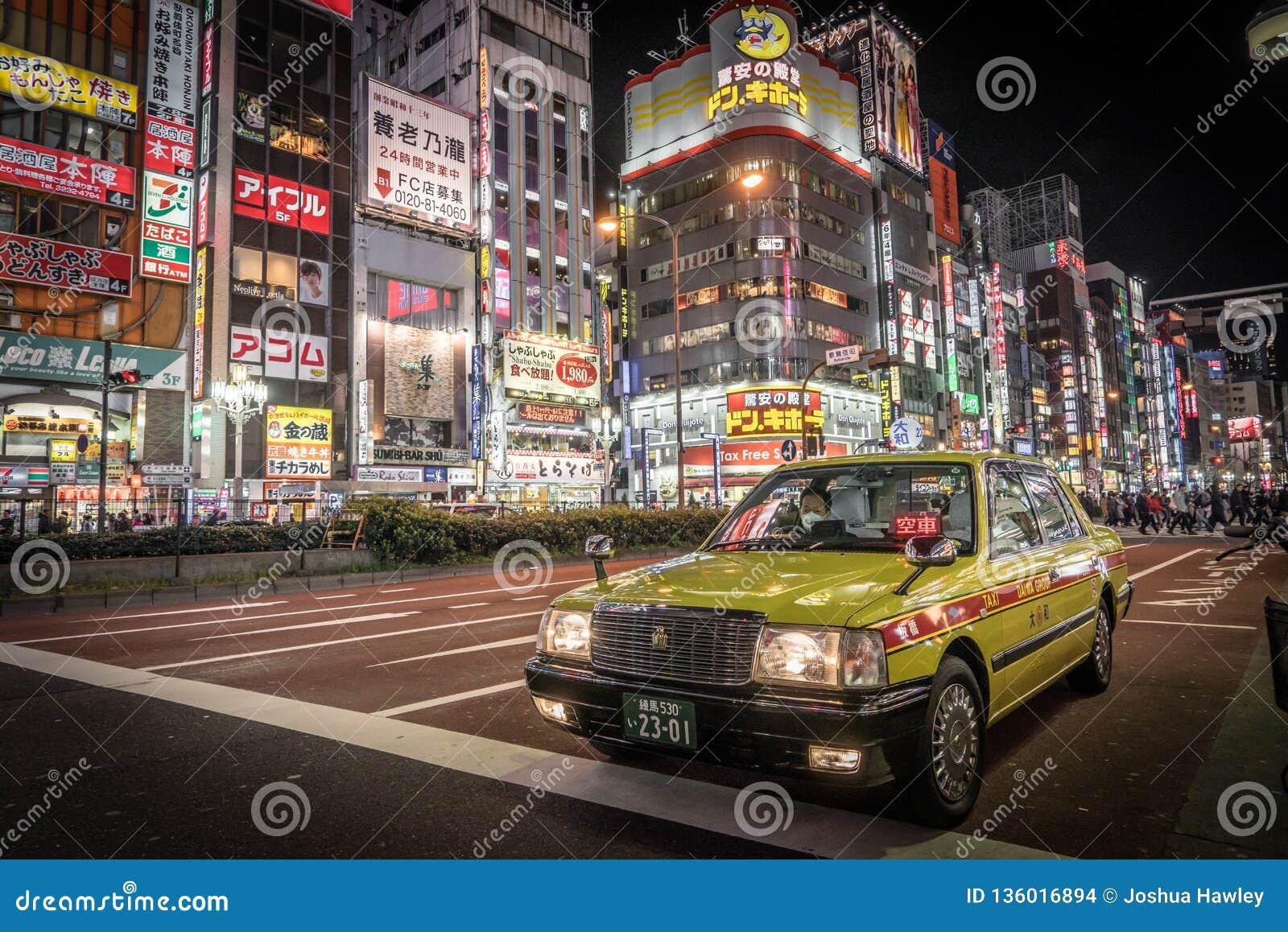 Taxi in Tokyo bij nacht