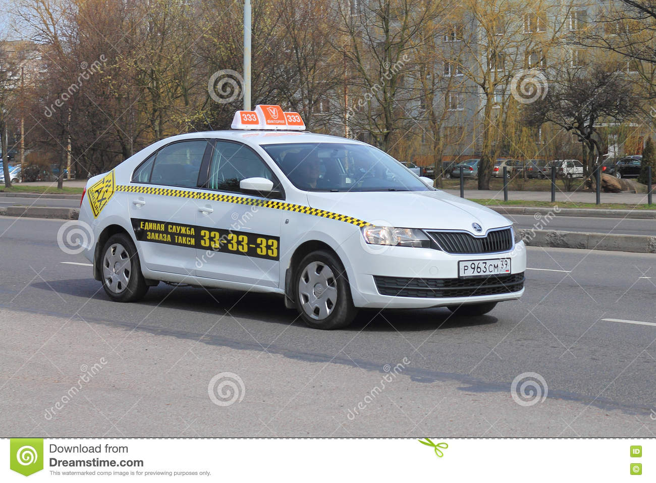 Taxi Victoria The White Car Of The Skoda Brand Editorial Image