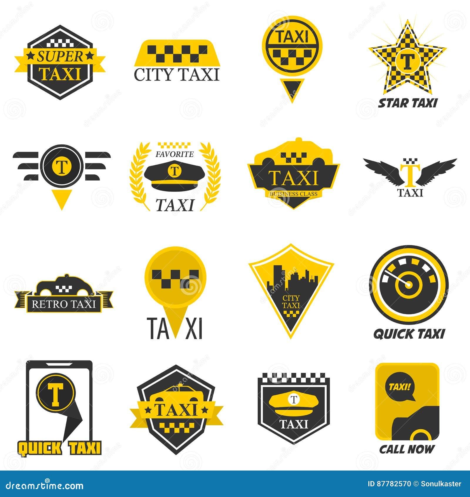 82372dfe15e Taxi logo templates for company web or smartphone application icon. Yellow  checkered symbol