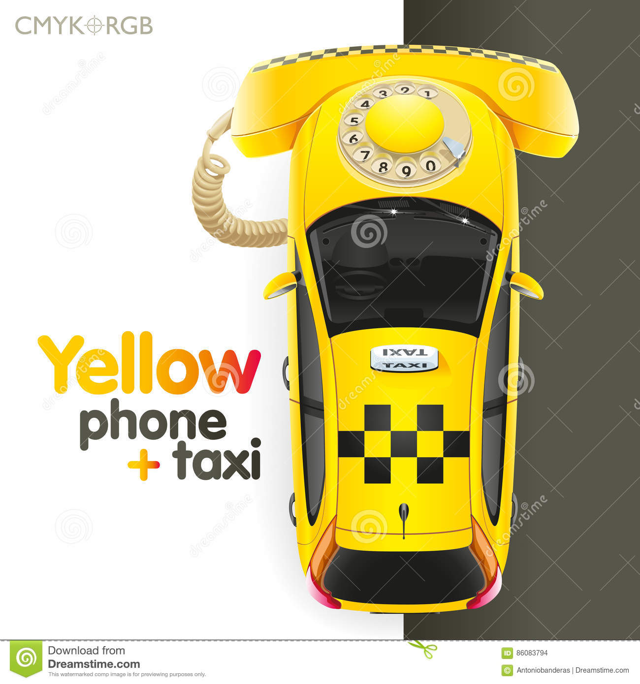 Taxi Yellow Phone Stock Vector. Illustration Of Taxi