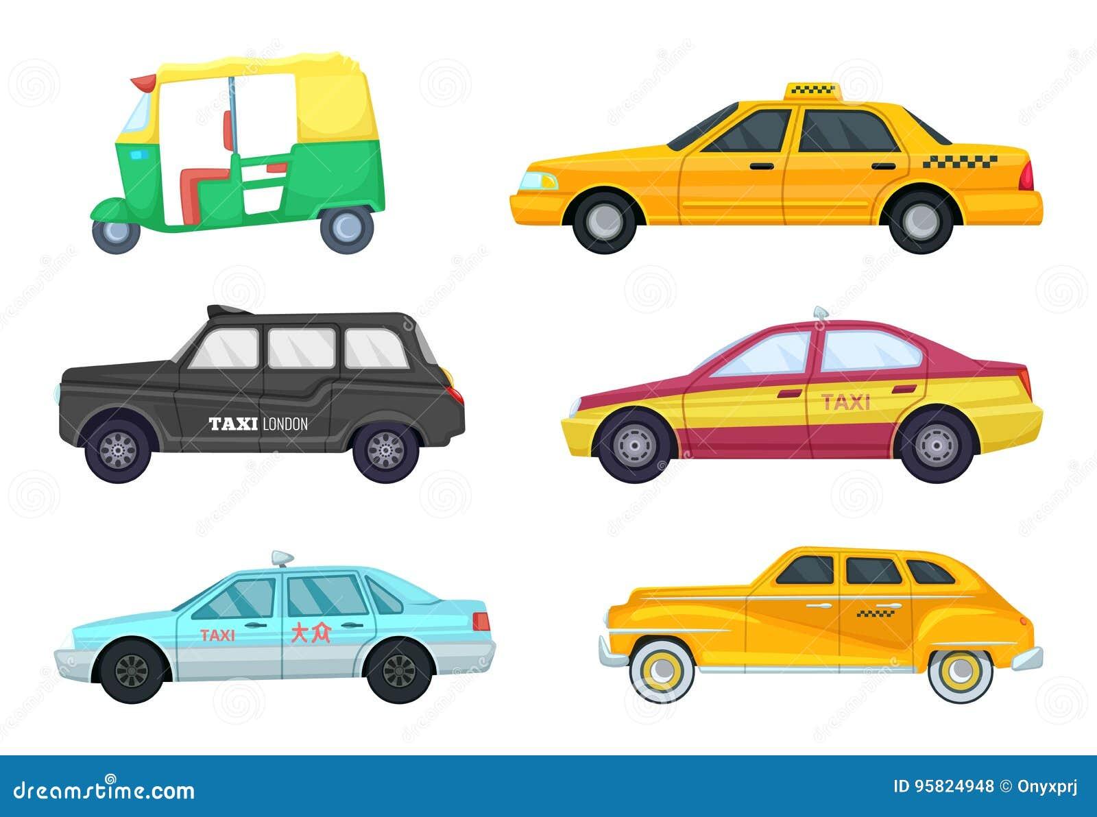Taxiautos in den verschiedenen Städten Transport für das schnelle Reisen Vektorillustrationen eingestellt
