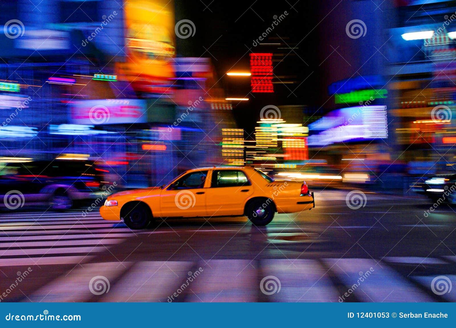 Taxicab on city street