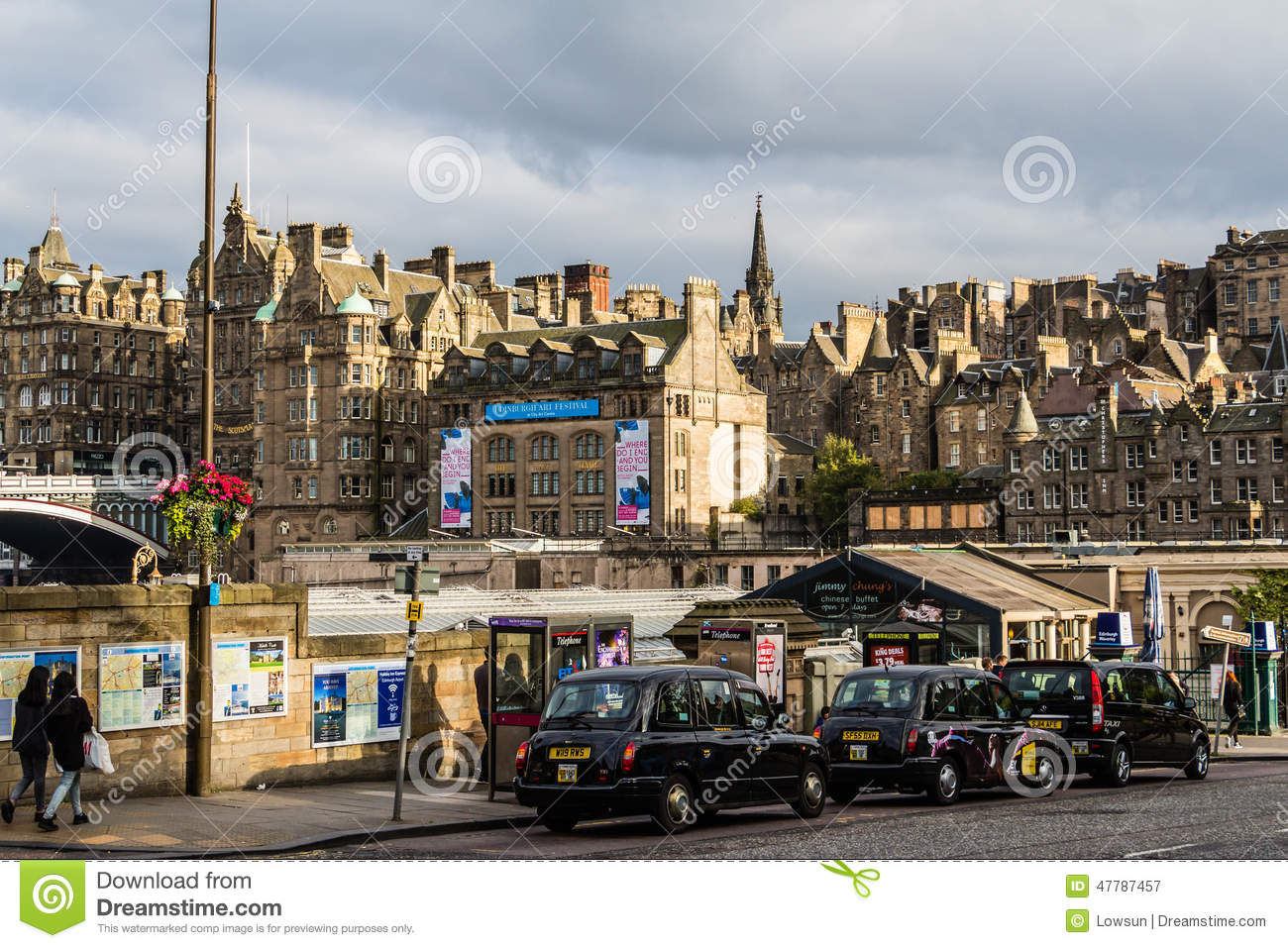taxis parked in edinburgh scotland editorial photography. Black Bedroom Furniture Sets. Home Design Ideas
