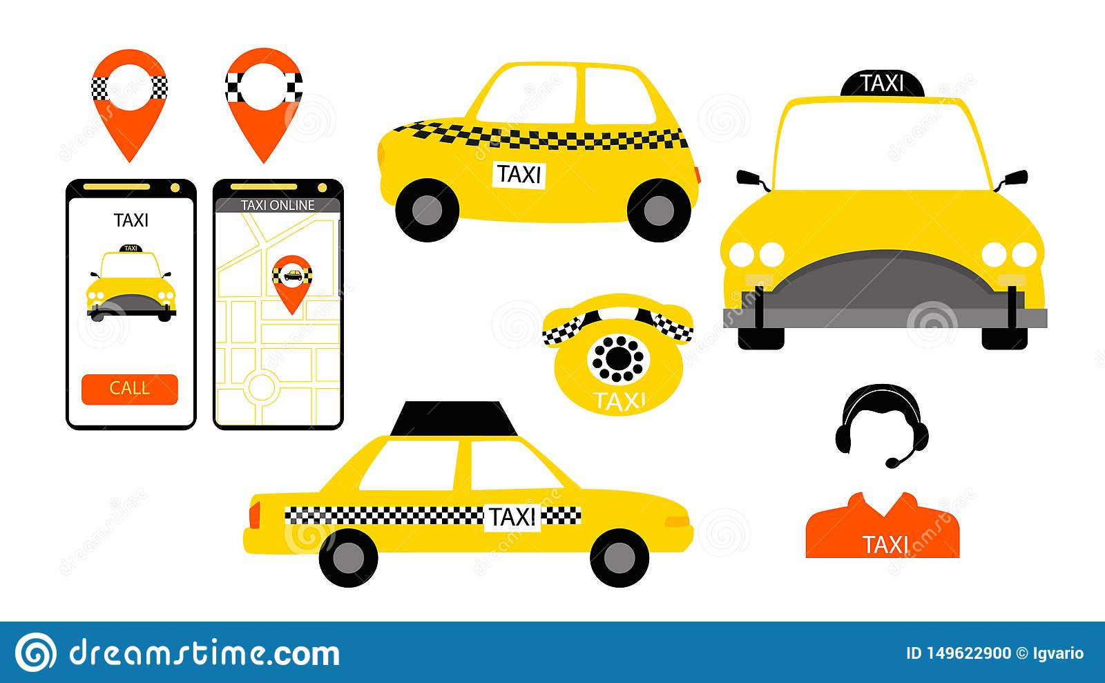 Taxiservice undertecknar in vektorn