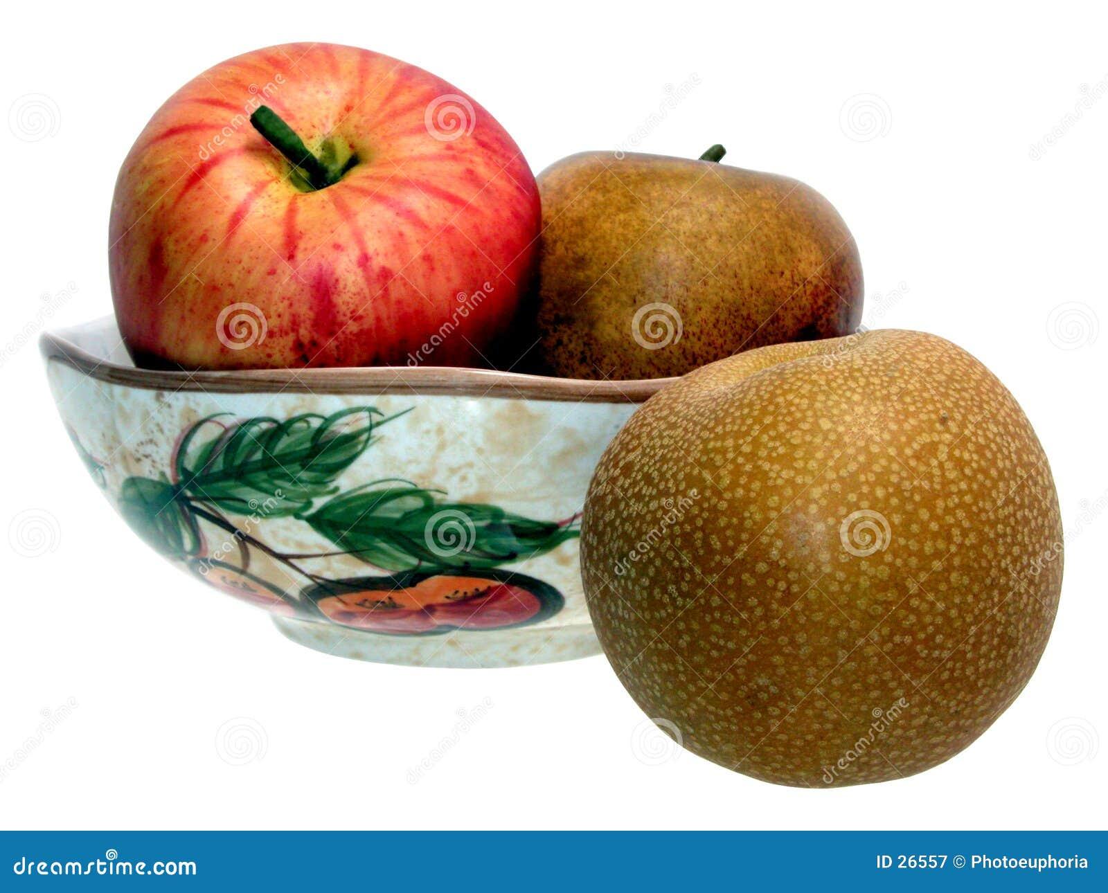 Tazón de fuente asiático de la pera y de fruta
