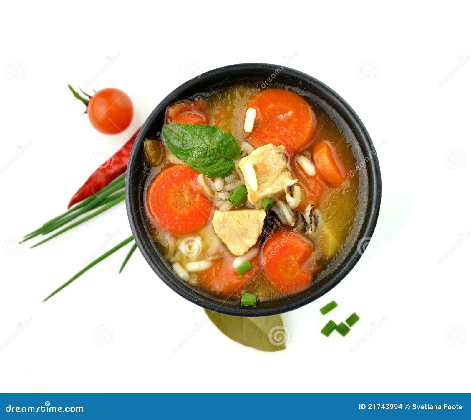 Tazón de fuente de sopa sano