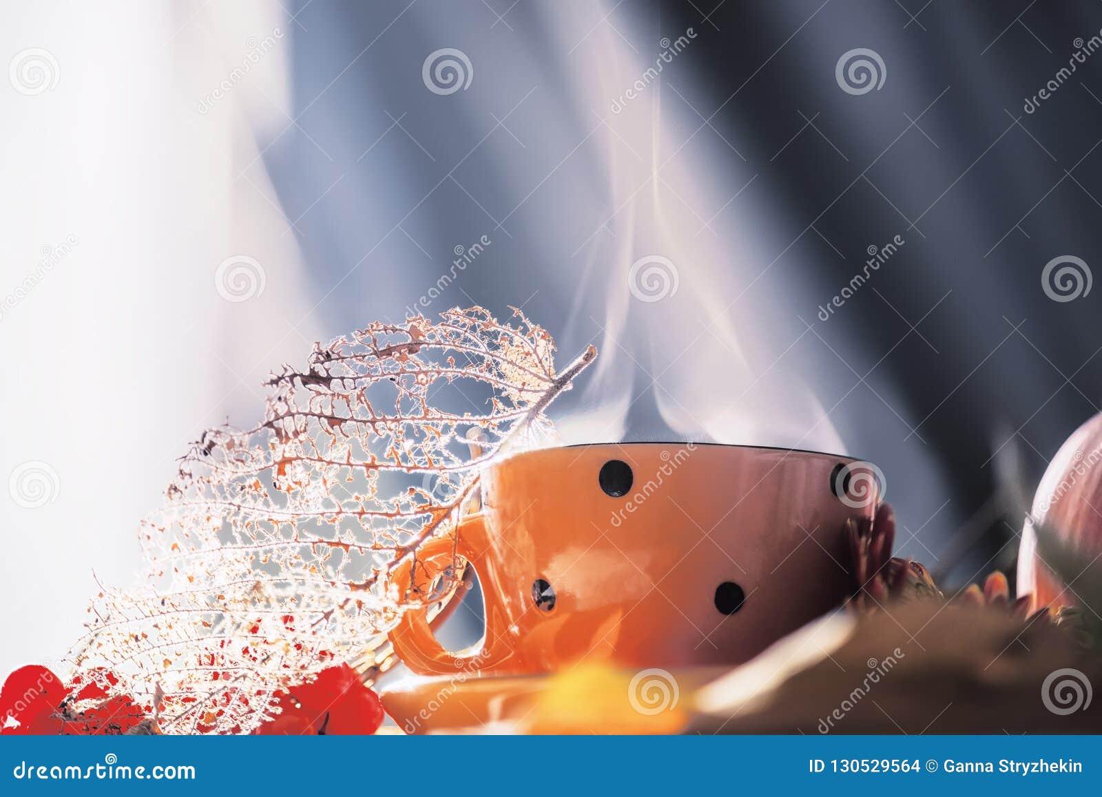 Taza con el cocido al vapor de la bebida al vapor y hojas y bayas secas Foto del arte La atmósfera de un otoño acogedor acogedor