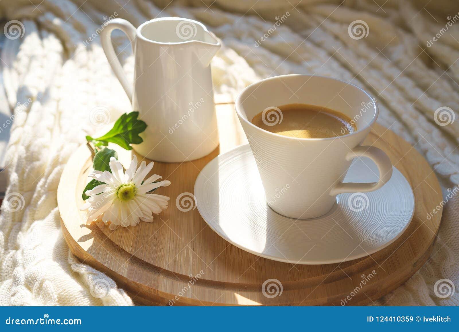 Taza de café blanca con la tela escocesa hecha punto acogedora en un escritorio de madera y con la flor blanca