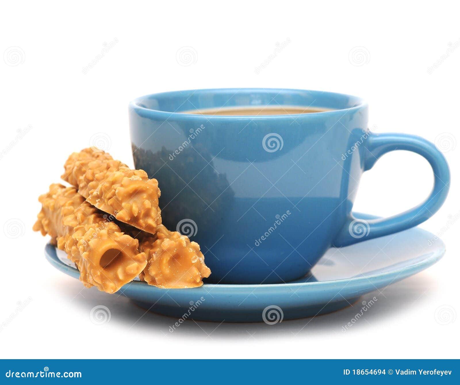 Taza de caf con leche y galletas foto de archivo imagen for Capacidad taza cafe con leche