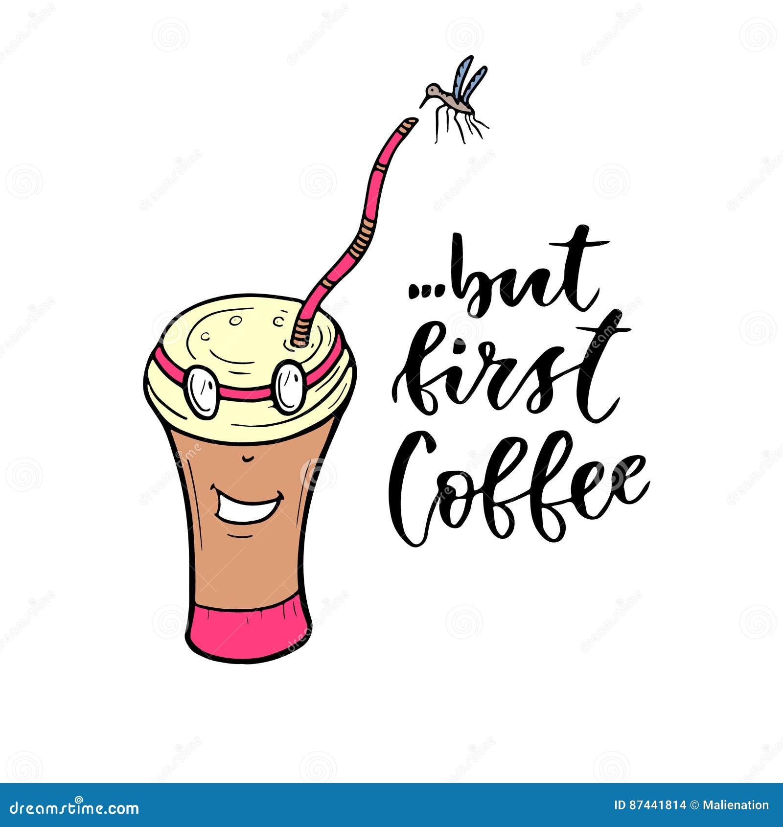 Taza De Café Del Personaje De Dibujos Animados Letras