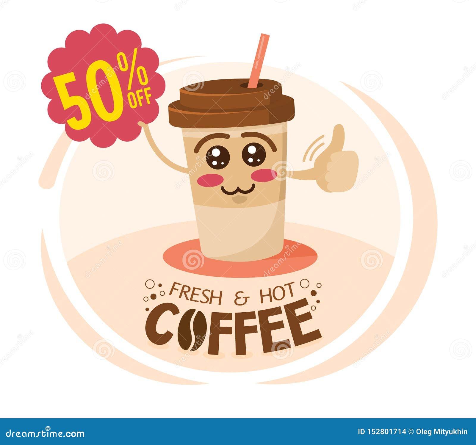 Taza de café divertida del personaje de dibujos animados que lleva a cabo una muestra con oferta especial Concepto del descuento