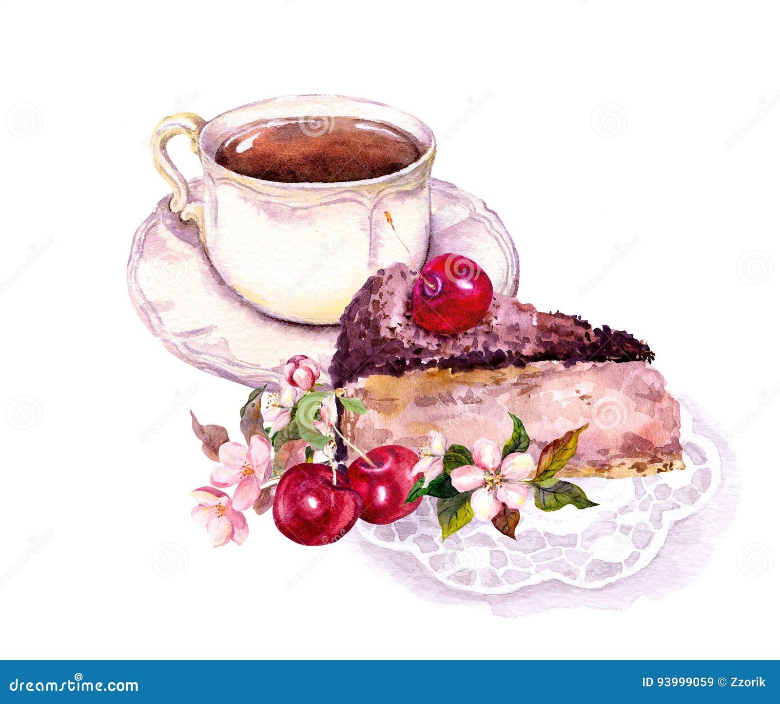 Taza de café o de té, torta de chocolate con las frutas de la cereza y flores watercolor