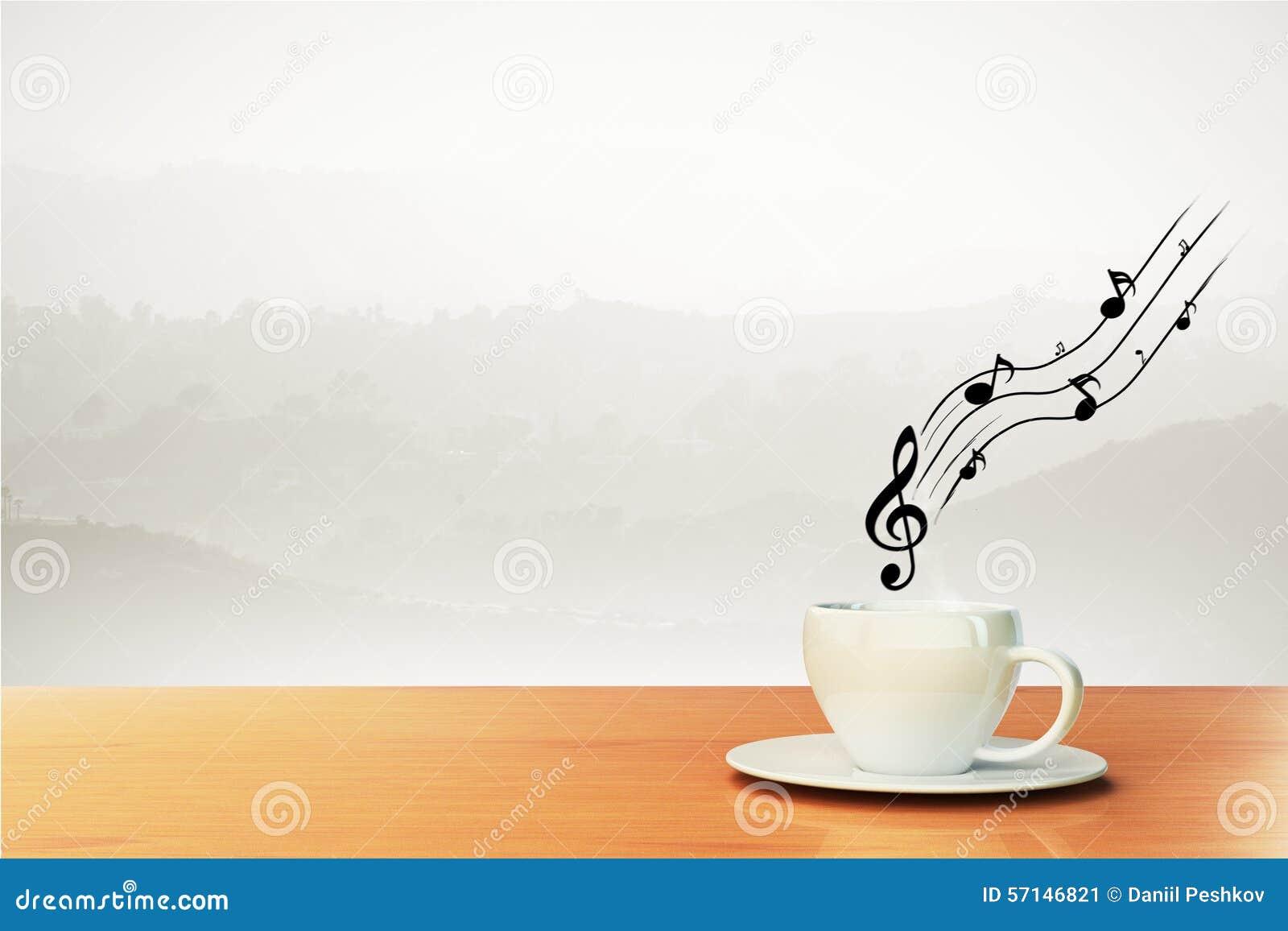 Taza de café y de notas musicales