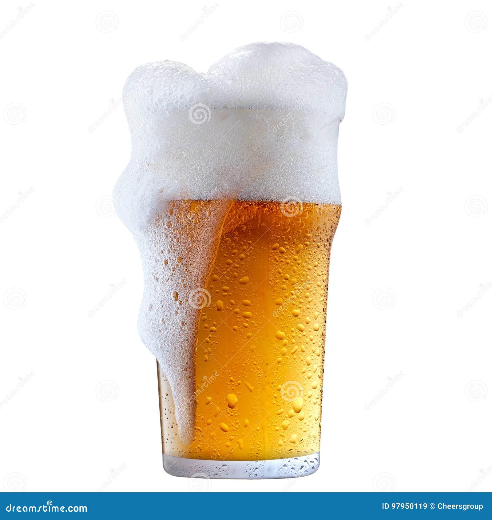 Taza de cerveza escarchada con espuma