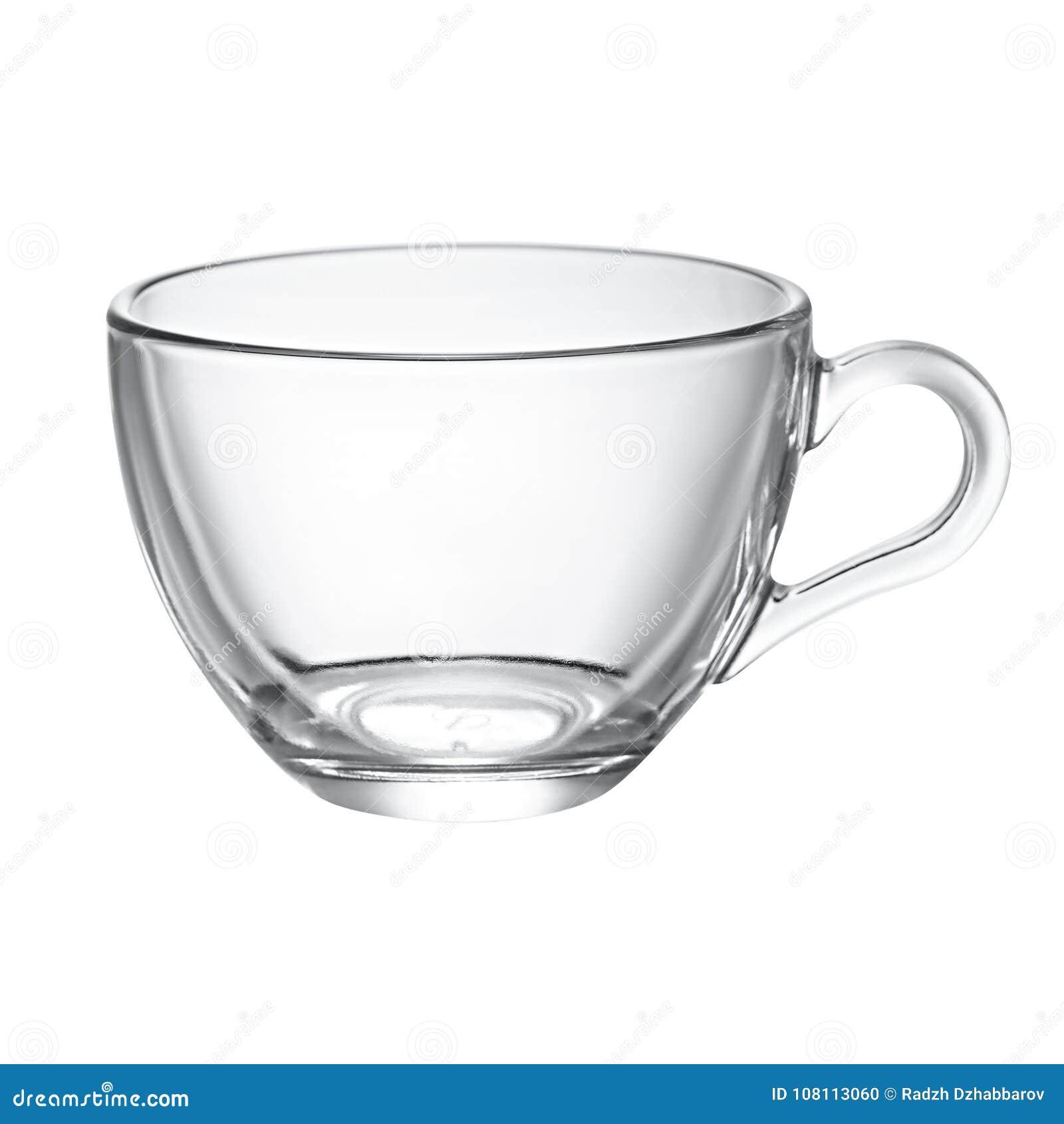 Taza de cristal vacía para el té