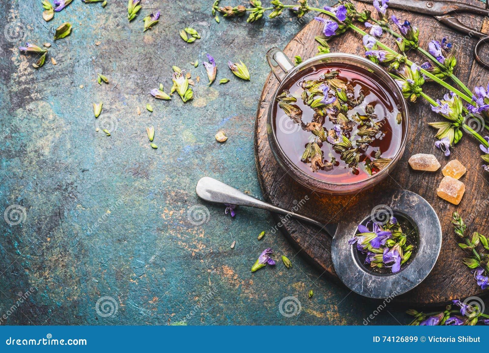Taza de infusión de hierbas fresca con las hierbas curativas y las flores en el fondo rústico envejecido, visión superior