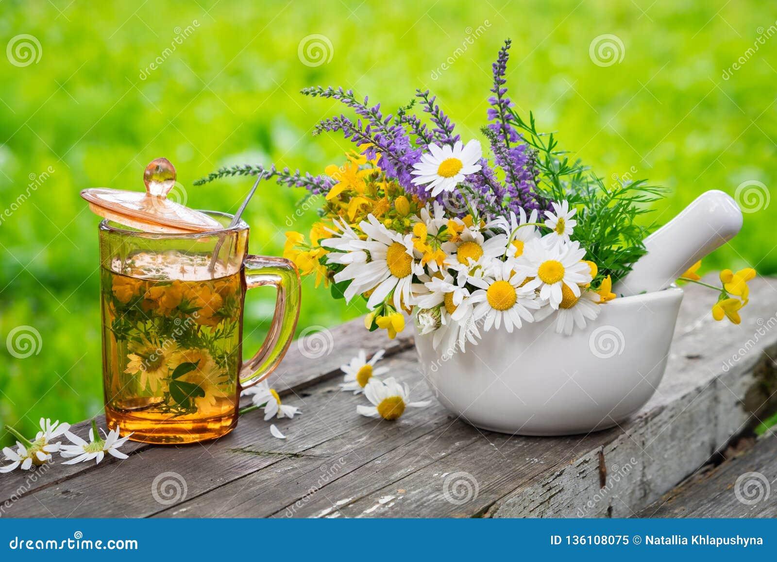 Taza de infusión de hierbas sana, mortero de hierbas medicinales en el tablero de madera