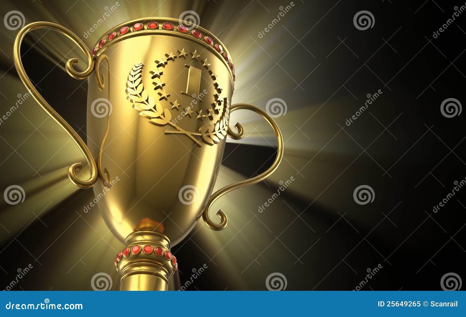 Taza de oro del trofeo que brilla intensamente en fondo negro