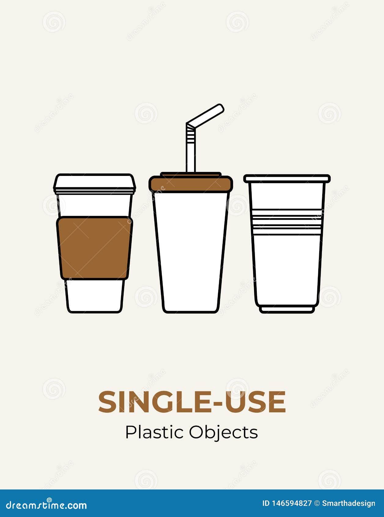 Taza de papel con la tapa pl?stica, paja, taza pl?stica Sistema pl?stico blanco no reutilizable del ejemplo del vector de los ute