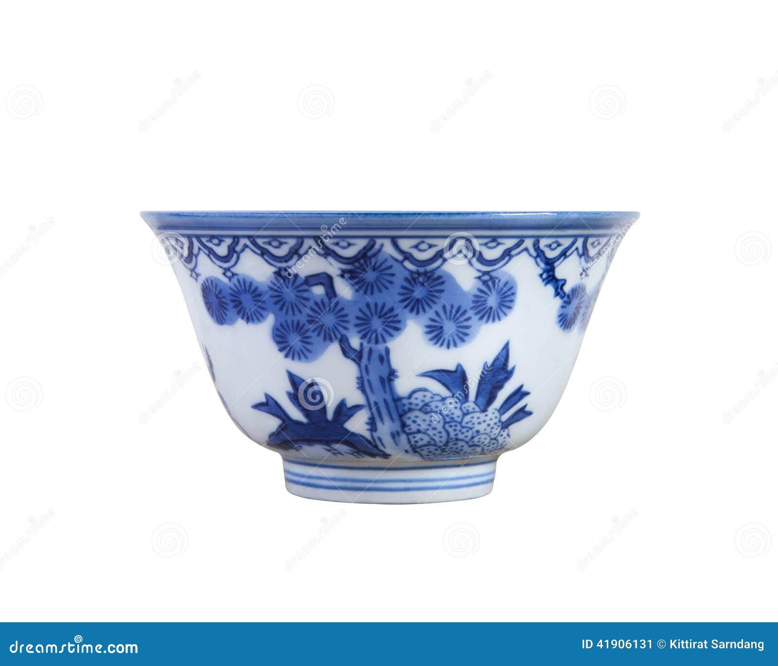 Taza de té azul y blanca china de la cerámica